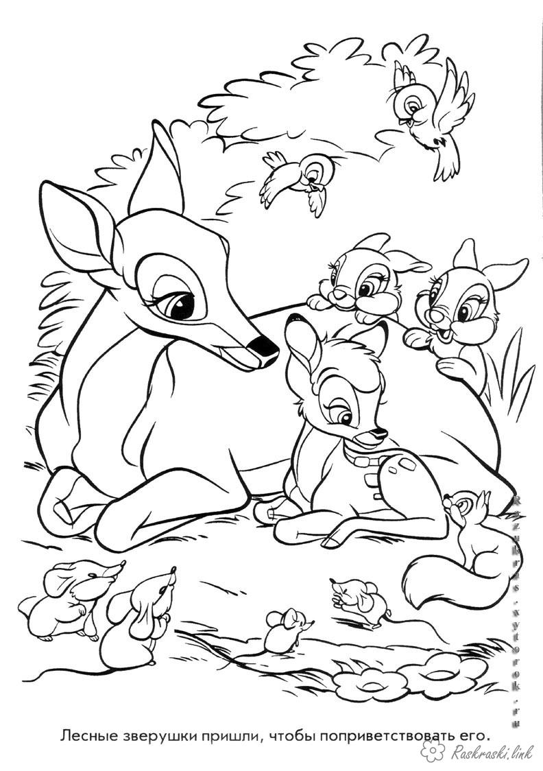 Розмальовки бембі Дитяча розфарбування по мультфільму