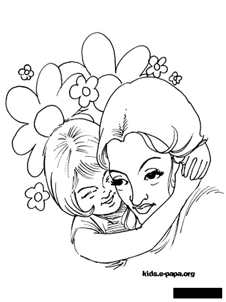 Розмальовки дівчинка Розмальовки свята, розмальовки 1 червня, мама, дівчинка