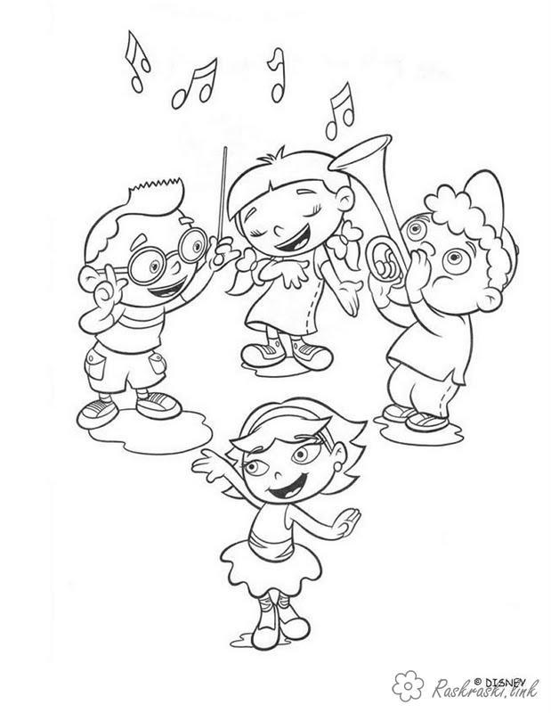 Розмальовки дівчинка Розмальовки свята, розмальовки 1 червня, діти, хлопчик, дівчинка, танець, музика