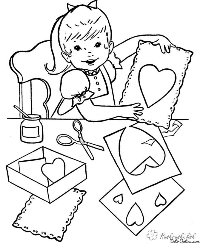 Розмальовки аплікації Дівчинка, аплікації, сердечка