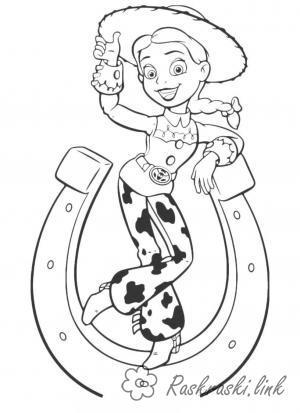 Розмальовки Історія іграшок Історія іграшок, Джессі, дівчина-ковбой, підкова, іграшка