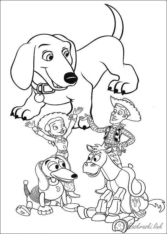 Розмальовки Історія іграшок Історія іграшок, щеня, ковбой, Спіралька, Булзай, Вуді, Джессі