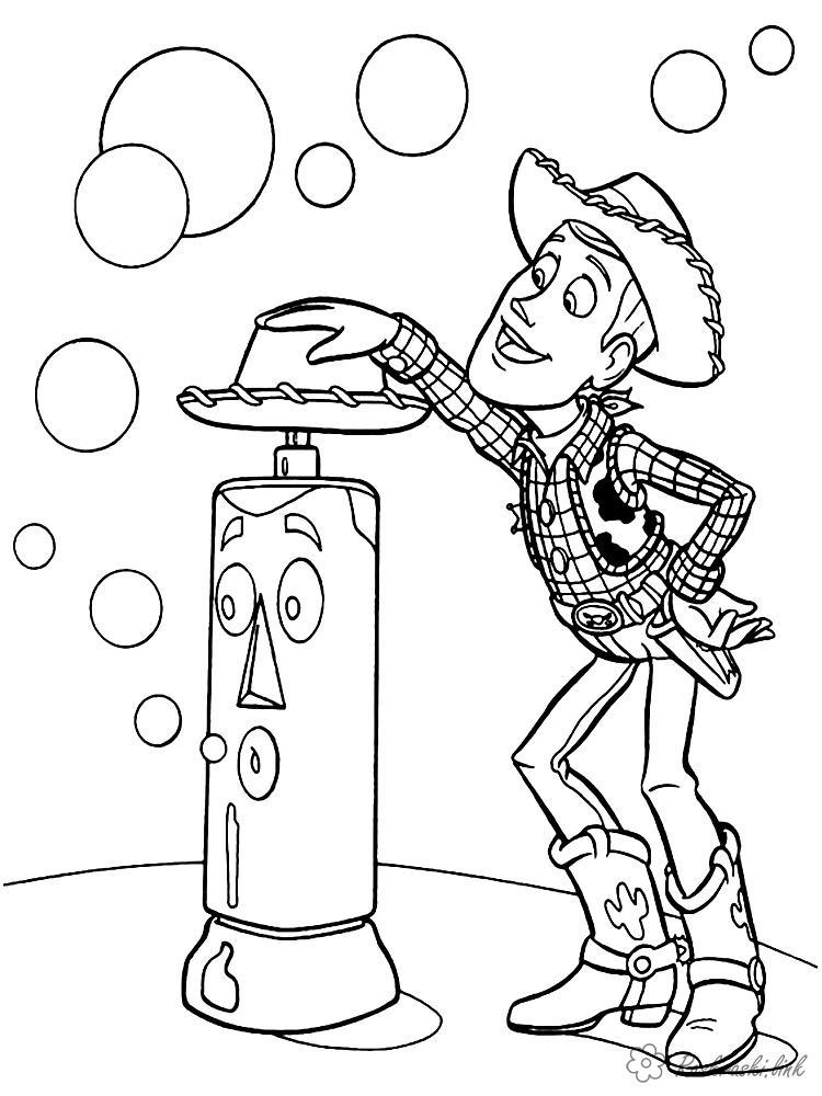 Розмальовки Історія іграшок Історія іграшок, ковбой, Вуді, мильні бульбашки