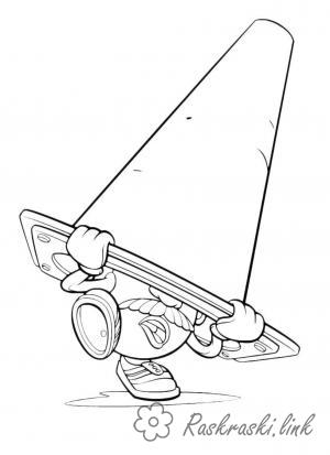 Coloring head Toy Story, Mr. Potato Head, traffic cone