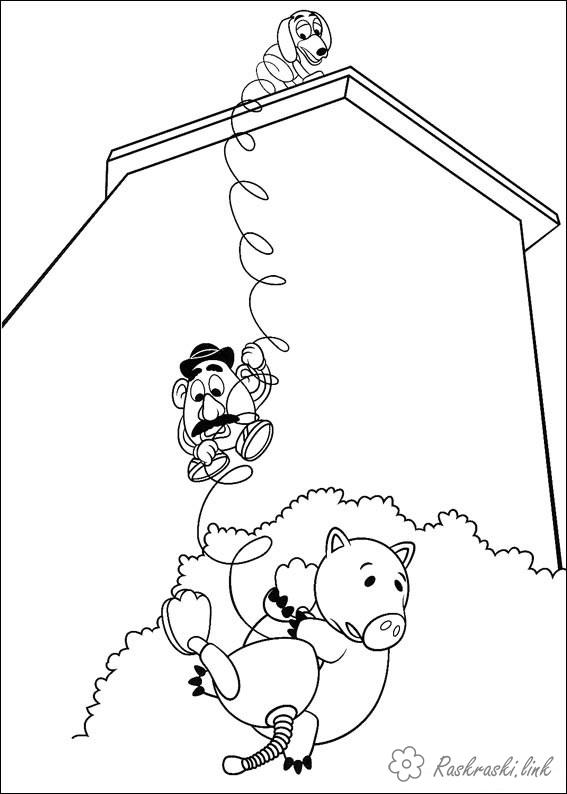 Coloring head Toy Story, pig, piggy bank, Hamm, roof, Mr. Potato Head, dachshund, spiral