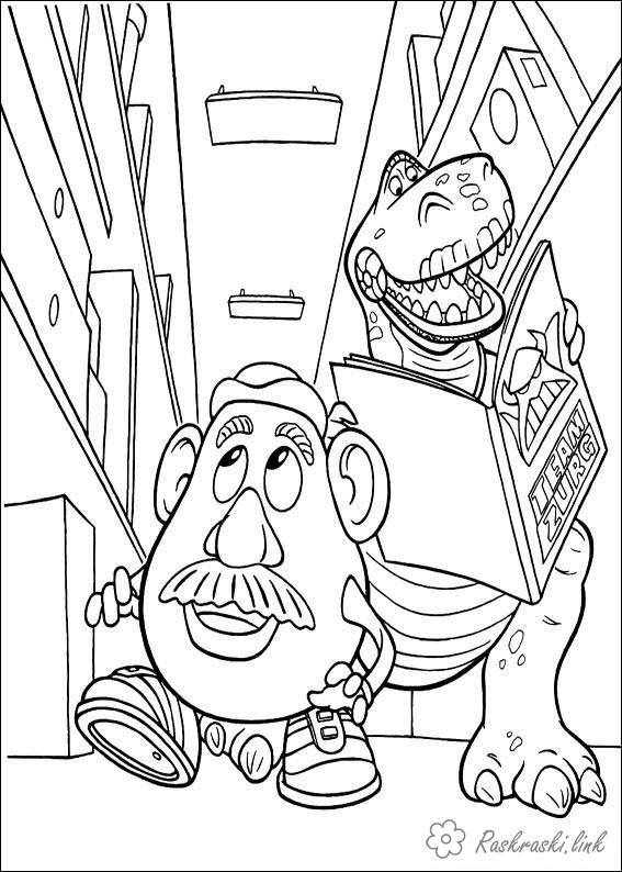 Coloring head Toy Story, dinosaur, Rex, Mr. Potato Head, Toy Store