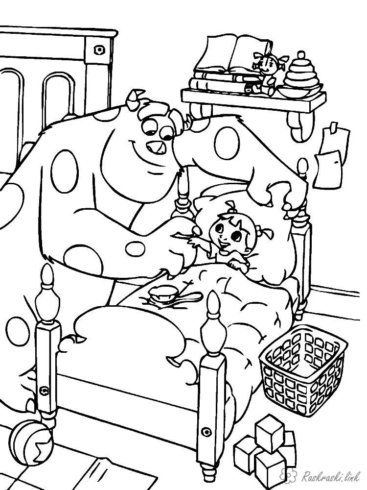 Розмальовки дівчинка Корпорація монстрів, монстр, дитина, дівчинка, пугальщік, Саллі, Джеймс, Салліван, Бу, ліжко