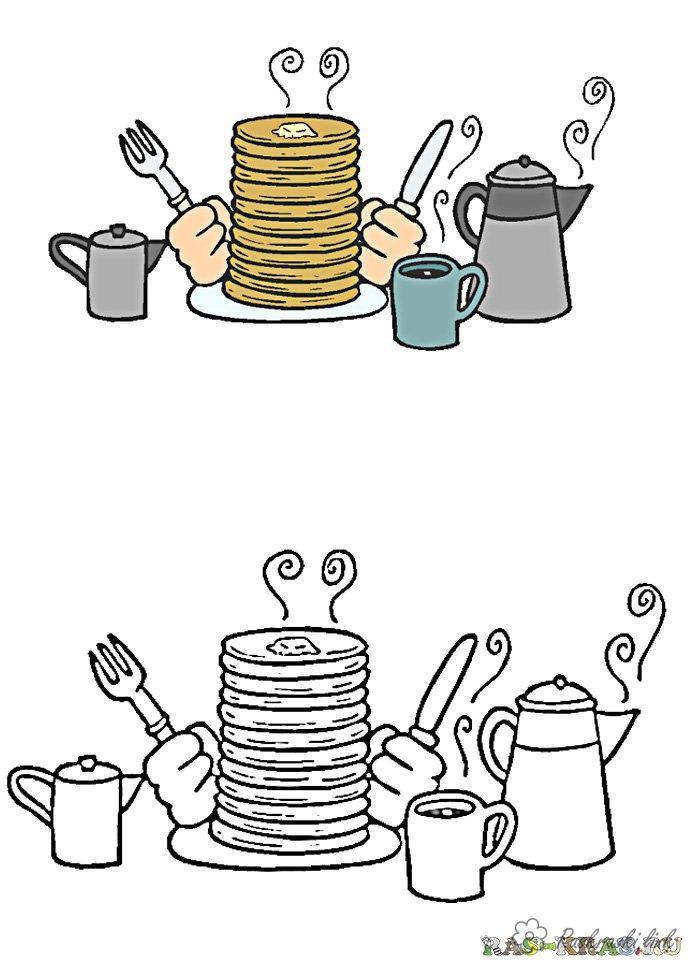 Розмальовки Масляна Млинці, чай, столові прилади, розфарбування