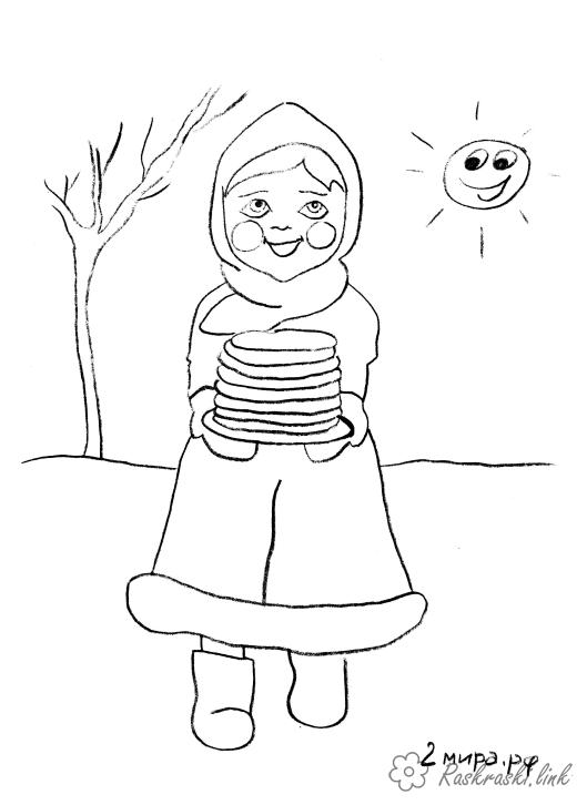 Coloring Maslenitsa pancakes, glow, sun, boots, coloring pages