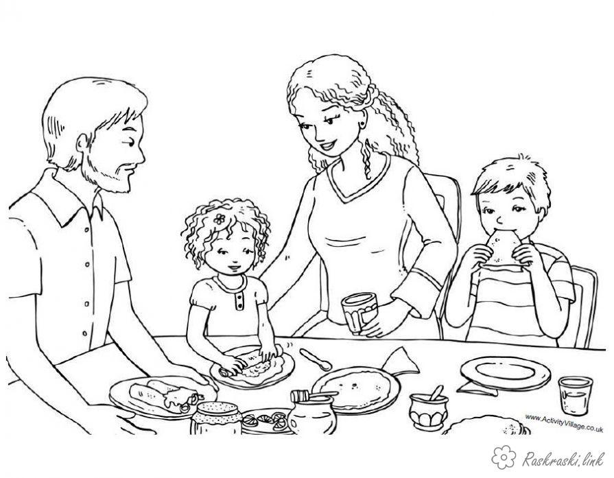 Розмальовки Масляна сім'я, млинці, солодощі, розфарбування, свято