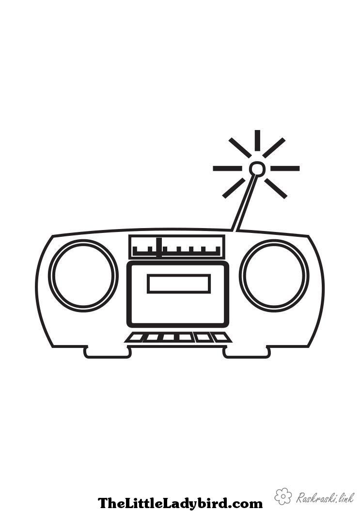 Coloring Radio day radio, antenna, music, painting, cassettes