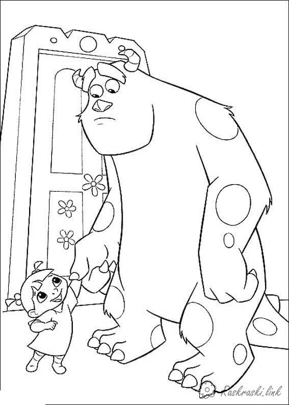 Розмальовки дівчинка Корпорація монстрів, монстр, пугальщік, Саллі, Салліван, Джеймс, дитина, дівчинка, Бу, двері, тримає за руку