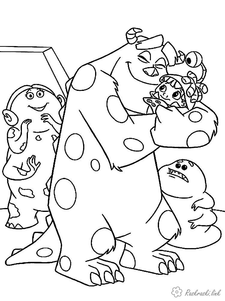 Розмальовки костюмі Корпорація монстрів, монстр, пугальщік, Саллі, Салліван, Джеймс, дитина, дівчинка, Бу, обіймає, костюм
