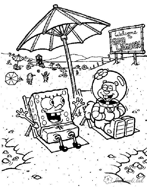 Розмальовки Губка Боб губка боб, Сенді розфарбування, парасолька, пляж