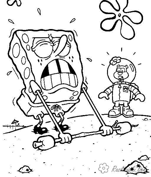 Coloring big SpongeBob, Sandy, coloring pages, big load