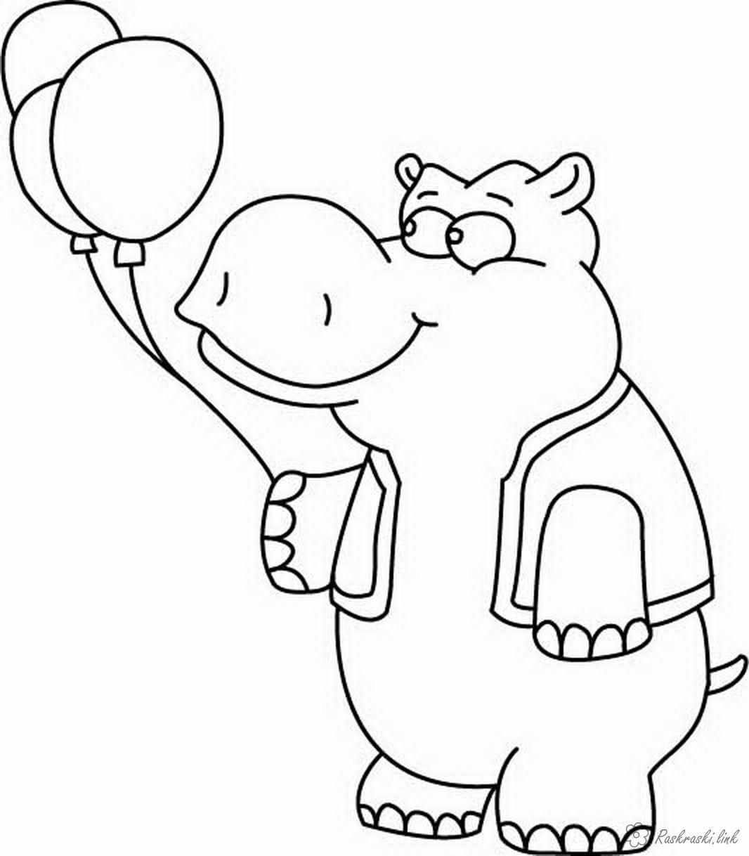 Coloring Simple coloring pages for kids Hippo with a ball coloring pages