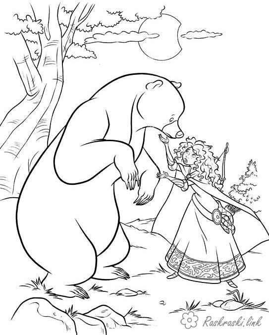 Coloring Brave coloring pages Brave, Merida, a girl, a bear