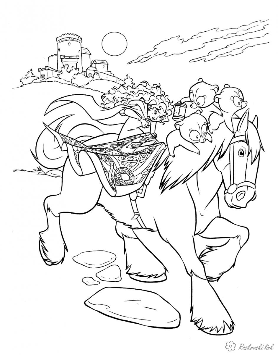Coloring Brave coloring pages brave heart, horse, girl, Merida, Bears