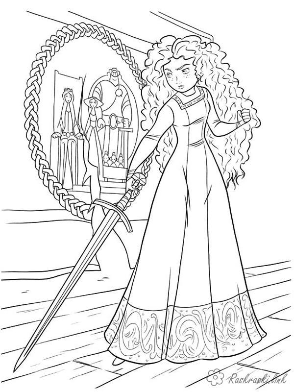 Раскраски мечом раскраски храбрая сердцем, раскраски мультфильмы, девушка, Мерида