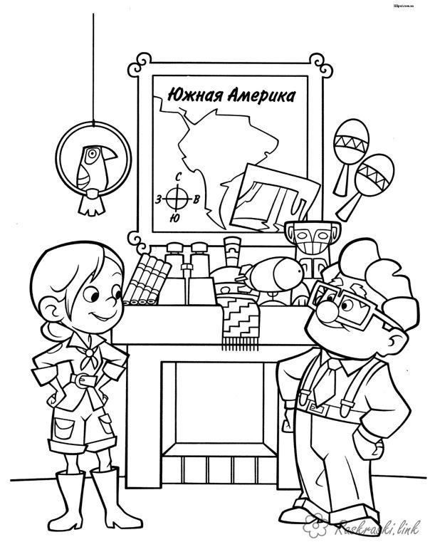 Coloring Up coloring pages cartoons, cartoon coloring pages up, grandfather, girl, Carl Fredricksen