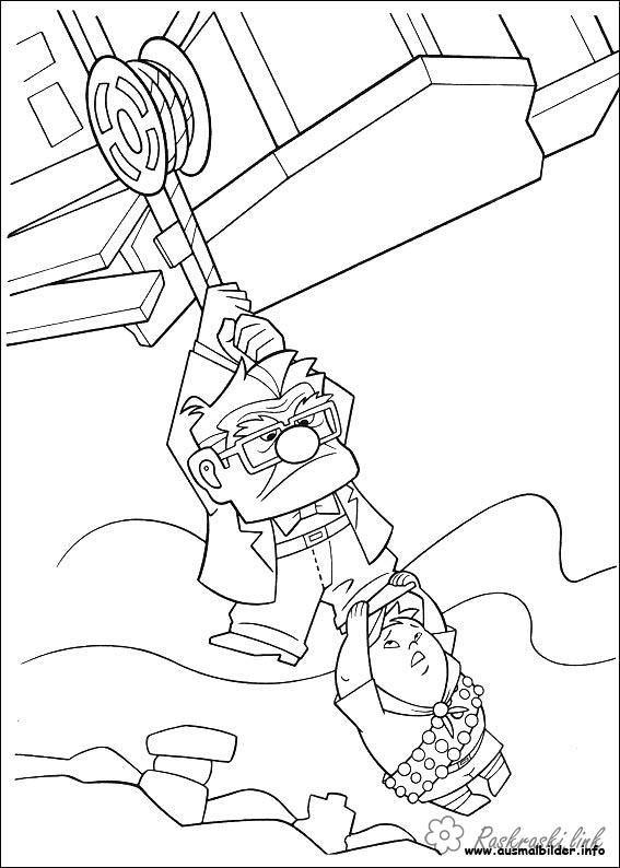 Coloring Up coloring pages cartoons, cartoon coloring pages up, grandfather, boy, Carl Fredricksen, Russell