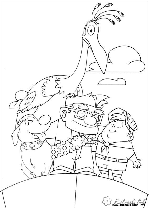 Coloring Up coloring pages cartoons, cartoon coloring pages up, grandfather, boy, Carl Fredricksen, Russell, bird, dog
