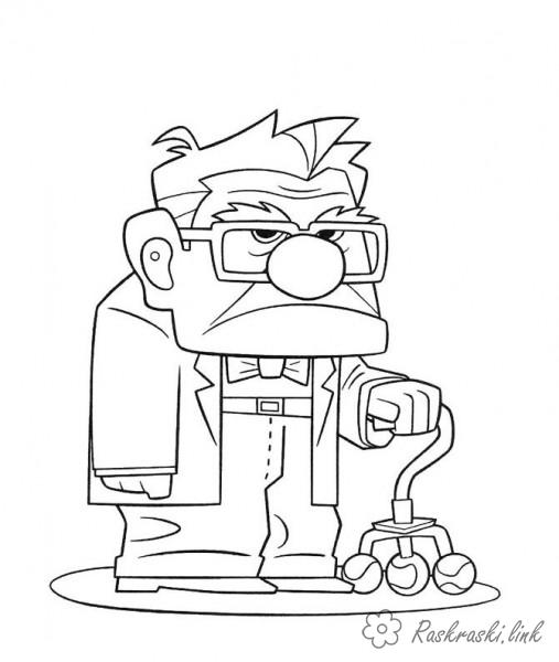 Coloring Up coloring pages cartoons, cartoon coloring pages up, grandfather, Carl Fredricksen