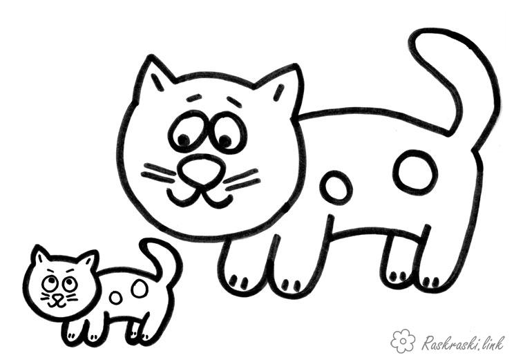 Coloring Simple coloring pages for kids Cat and kitten coloring pages
