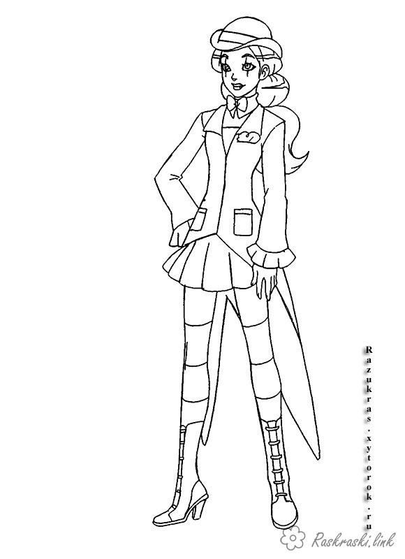 Coloring hat The girl in the hat Totally Spies