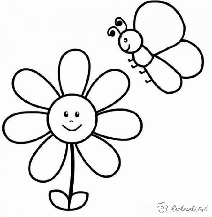 Coloring Simple coloring pages for kids flower and butterfly coloring pages for kids