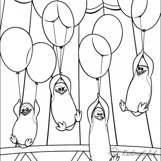Розмальовки Пінгвіни Мадагаскару розмальовки мультфільми, розмальовки Пінгвіни Мадагаскару, пінгвіни