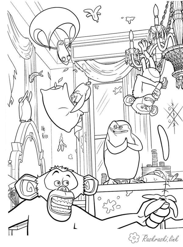 Розмальовки Пінгвіни Мадагаскару розмальовки мультфільми, розмальовки Пінгвіни Мадагаскару, пінгвіни, мавпи