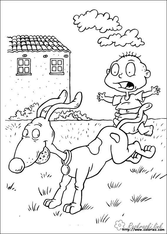 Розмальовки Ох вже ці дітки розмальовки мультфільми, Nickelodeon розмальовки, Томмі, хлопчик, собака, дітки
