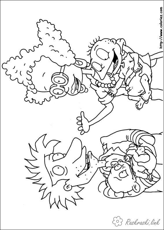 Розмальовки Ох вже ці дітки розмальовки мультфільми, Nickelodeon розмальовки, Томмі, мама, тато, дитина, хлопчик, дітки