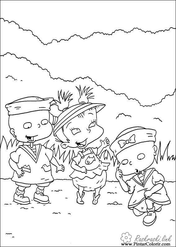Розмальовки Ох вже ці дітки розмальовки мультфільми, Nickelodeon розмальовки, близнюки, дівчинка, хлопчик, дітки