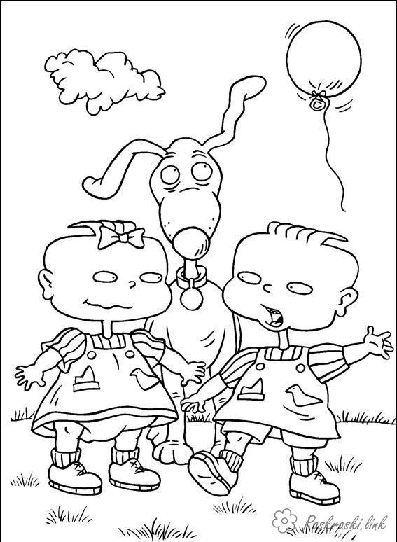 Розмальовки Ох вже ці дітки розмальовки мультфільми, Nickelodeon розмальовки, близнюки, собака, дітки
