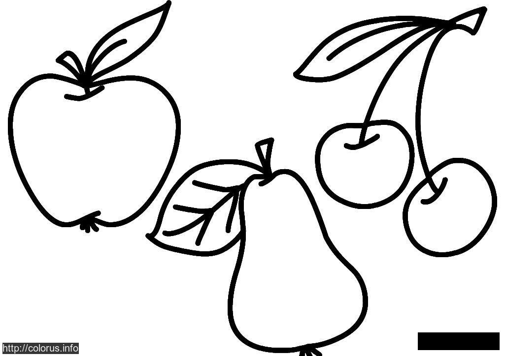 Coloring Simple coloring pages for kids coloring pages apple pear cherry