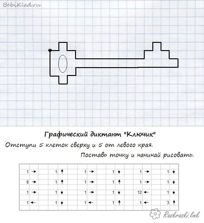 Розмальовки ключик Графічний диктант, малюємо по клітинках ключик