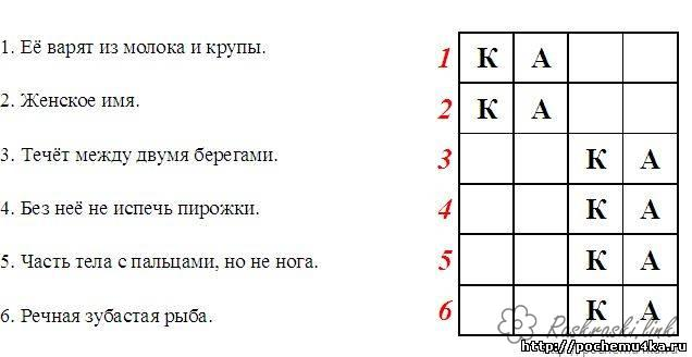 Coloring Crosswords for children Crossword Fill in the russian letters