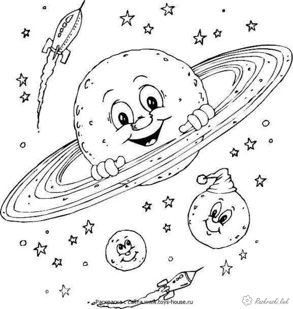 Coloring Cosmonautics Day Saturn moon