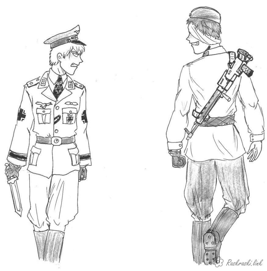 Розмальовки солдат  розмальовки до 9 травня день перемоги дитячі, солдати, фашист