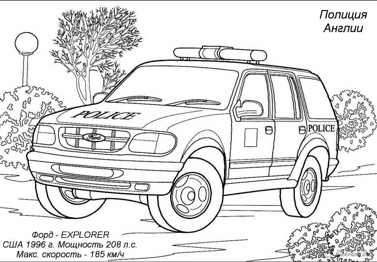 Раскраски машины Раскраска машина полиции Англии