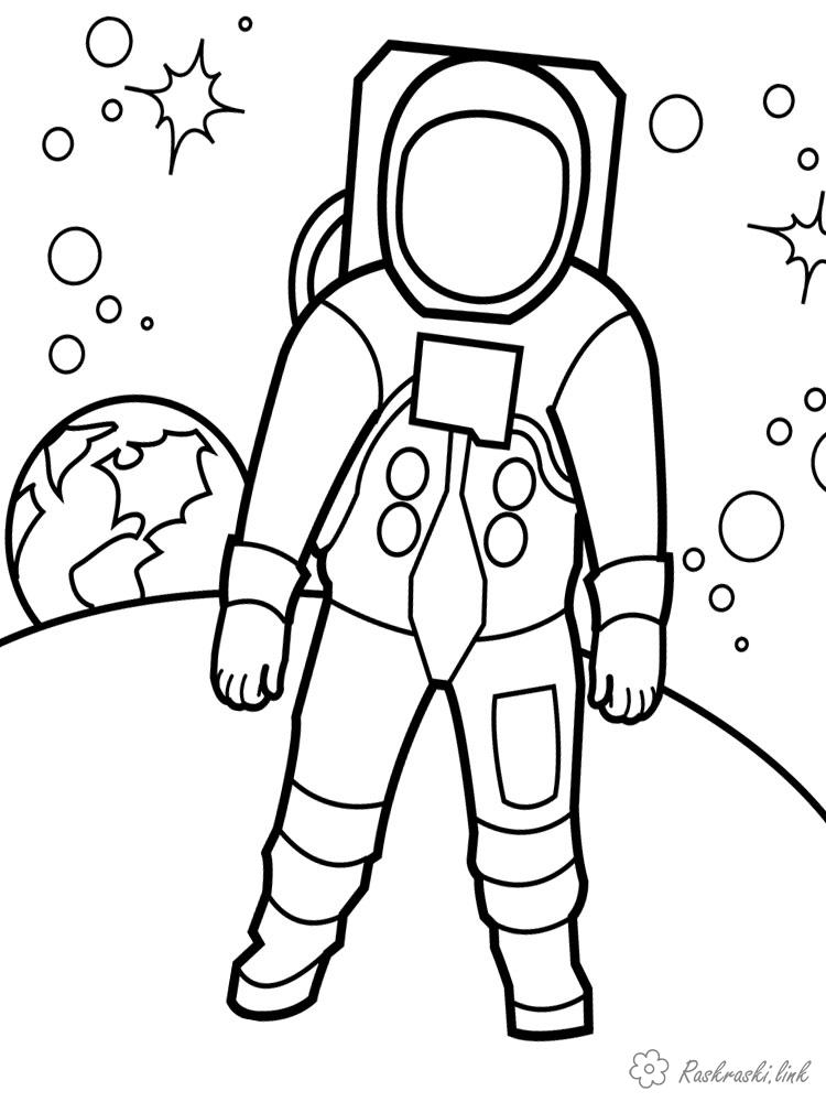 Coloring Cosmonautics Day astronaut on the moon
