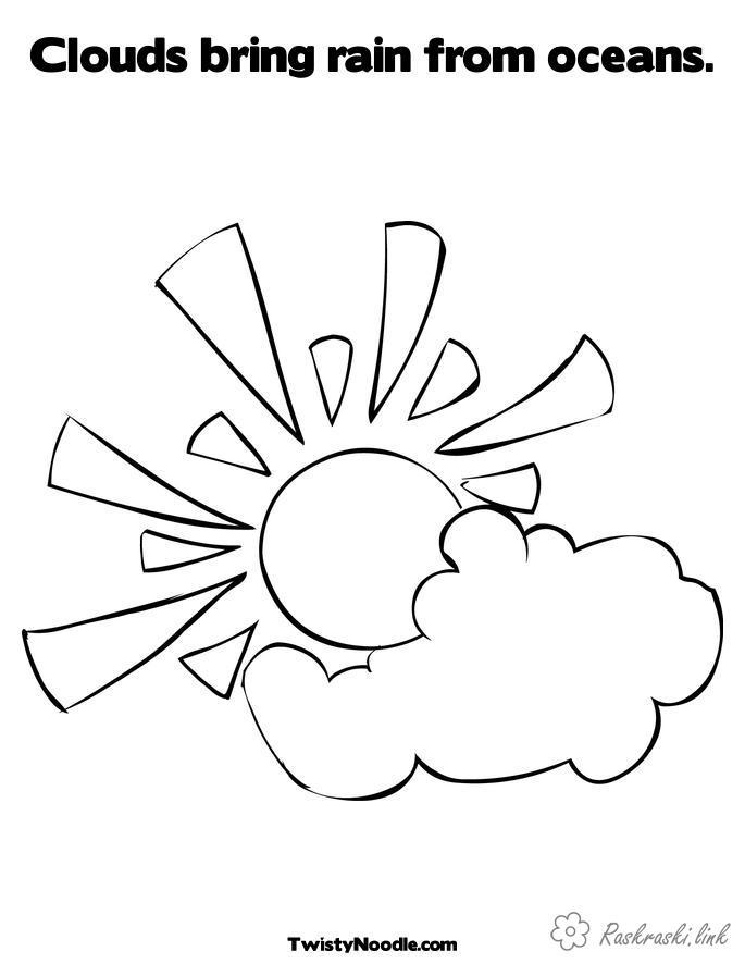 Розмальовки сонечко розмальовки явища природи, хмарка розфарбування, хмаринка, сонечко