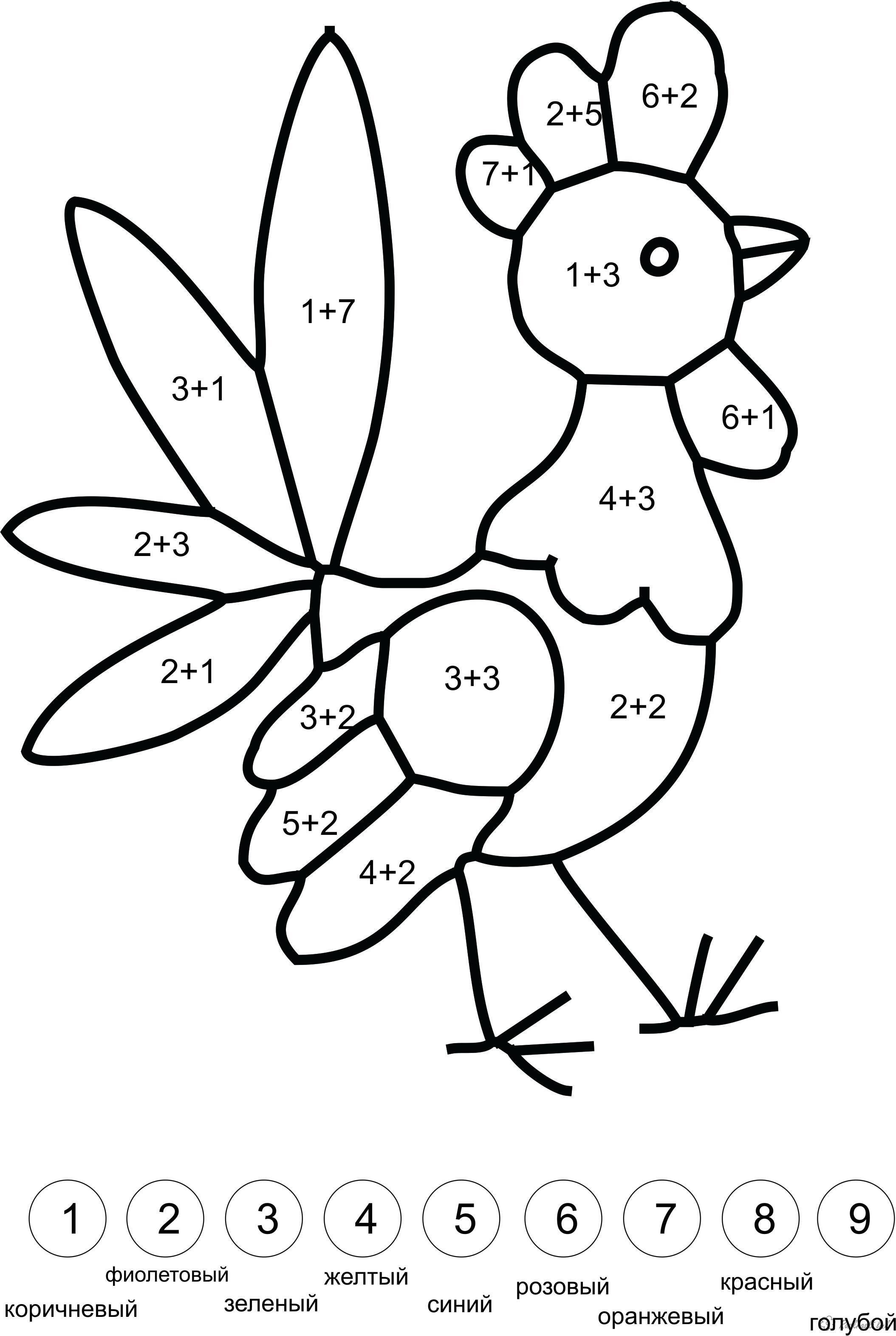 Розмальовки Математичні розмальовки для дошкільнят математичні розмальовки для дошкільнят, навчальні розмальовки, розфарбуй півника по цифрах