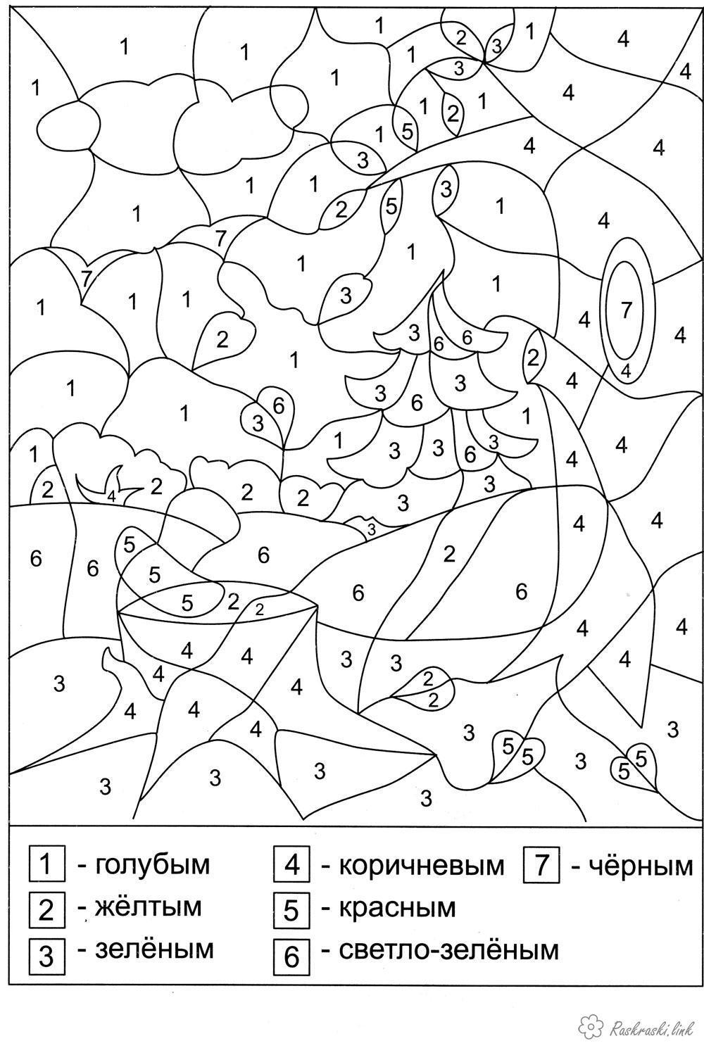 Розмальовки ліс математичні розмальовки для дошкільнят, навчальні розмальовки, розфарбуй по цифрах, ліс
