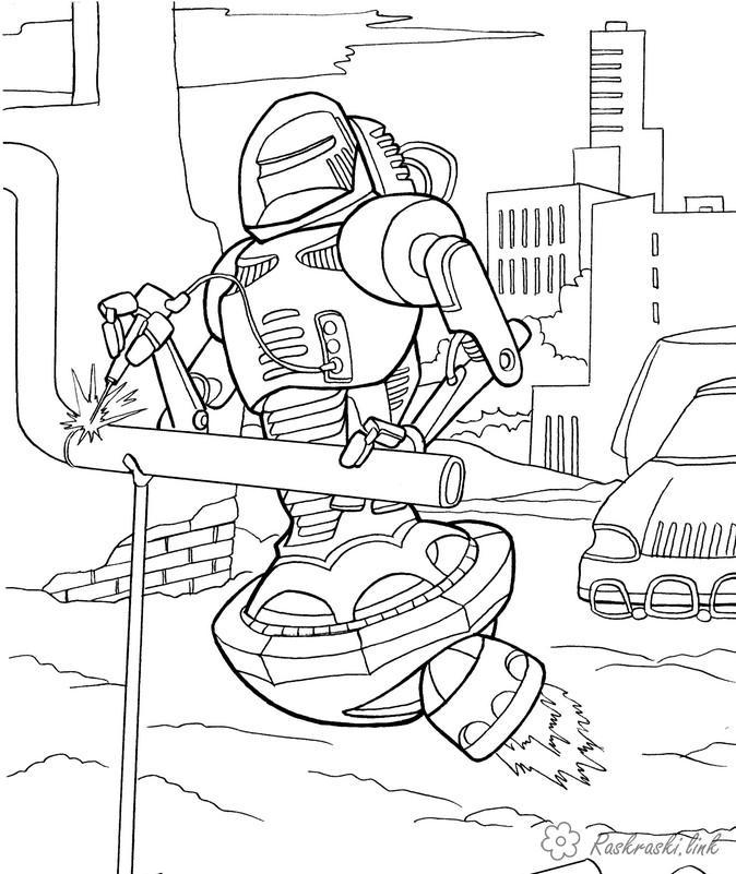 Розмальовки робот робот зварювальник