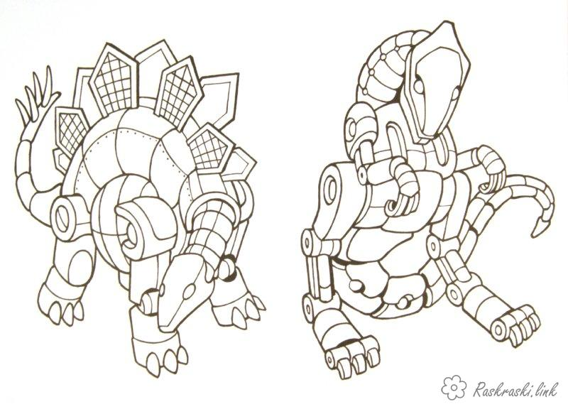Coloring Cyborg robot Transformers robot dinosaurs