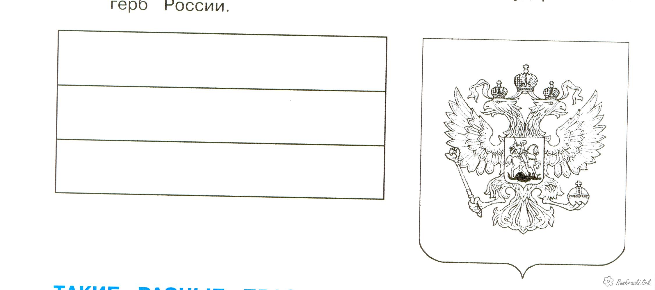 Coloring flag The coloring pages of the coat of arms and flag of the Russian Federation