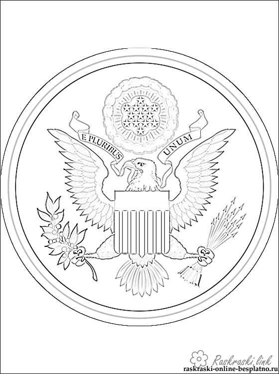 Coloring flag Coat of arms USA coloring pages